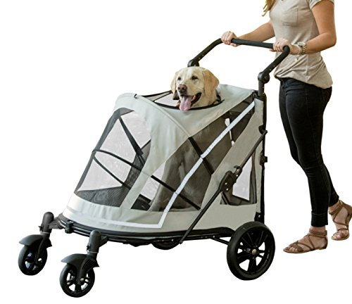 Pet Gear NO-ZIP Stroller, Push Button Zipperless Dual Entry, for Single or Multiple Dogs/Cats, Pet Can Easily Walk In/Out, No Need to Lift Pet, Fog, Expedition