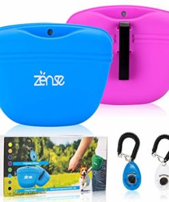 Zënse Premium 2 Dog Treat Pouch and 2 Dog Training Clicker. Magnetic Closure Opening and New Upgraded Super Strong Waist Clip. Small Portable Silicone Treat Bag. Blue and Lavender Color Bags