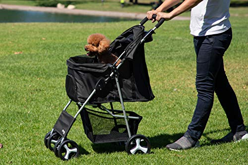 Paws & Pals Pet Stroller Cat/Dog Easy to Walk Folding Travel Carrier Carriage, Onyx Black