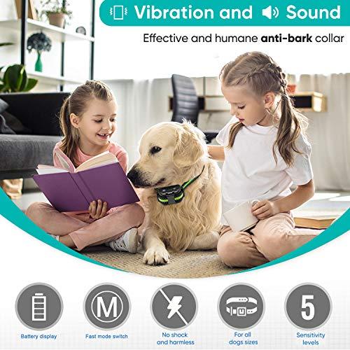 PetYeah Upgraded Q9 Dog Bark Collar,Smart Barking Identification Device,Dual Anti-Barking Modes (No Shock/Shock),Rechargeable Waterproof No Bark Collar,Humane Anti Bark Collar Dogs