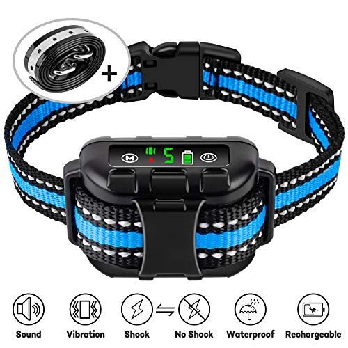 Casfuy Dog Bark Collar Upgraded – IP67 Waterproof Rechargeable 5 Sensitivity Dog Anti Bark Collar with Beep Vibration Safe Shock and No Shock for Small Medium Large Dogs (8-120 LBS)