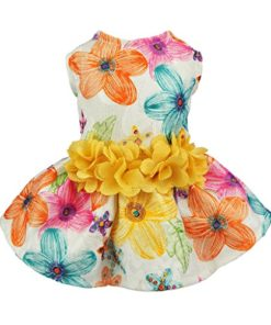 Fitwarm Floral Dog Harness Dress Pet Clothes D-Ring Vest Shirts Sundress Chihuahua Pomeranian Yellow Medium