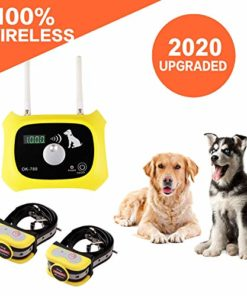 Wireless Dog Fence Pet Containment System, Safe Effective Dual Antenna Design, Adjustable Control Range 1000 Feet & Display Distance, Rechargeable Waterproof Collar (Wireless Dog Fence-2 Collar)
