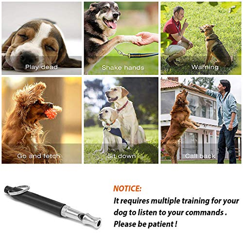 Mumu Sugar Dog Whistle to Stop Barking, Adjustable Pitch Ultrasonic Training Tool Silent Bark Control for Dogs- 1PCS Whistle with 1 Free Lanyard(Black)