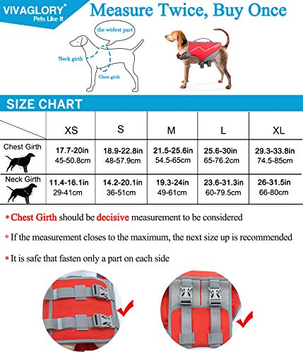 Vivaglory Medium Dog Life Jacket, Skin-Friendly Neoprene Life Vest for Dogs with Superior Buoyancy & Rescue Handle, Red M
