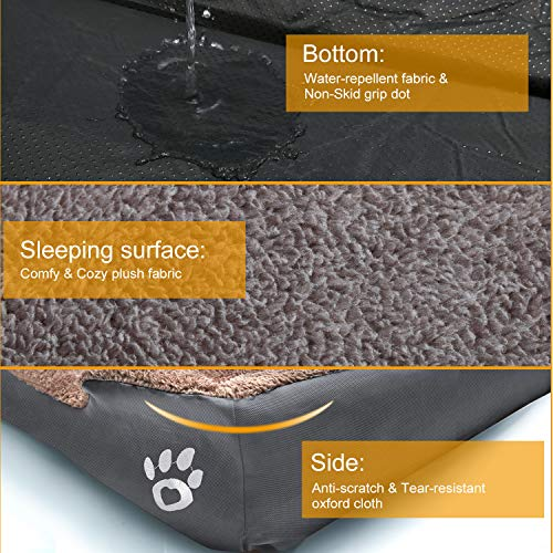 """TR pet Large Dog Beds, Pet Bed for Medium/Big/Extra Large Dogs, Dog Sofa Bed Pillow Washable with Removable Cover, Soft Cotton Stuffing, Calming Dog Bolster Couch (XXXL-Jumbo Dogs 44 x 35"""", Grey)"""