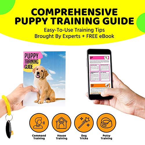 AMZpets Dog Training Set – Dogs Clicker, Treat Pouch Bag, Housetraining Door Bells, Ultrasonic Whistle. Puppy Supplies Starter Kit for Teaching Commands, Bark Control and Potty Training