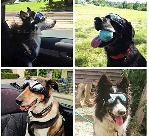 NVTED Dog Sunglasses Dog Goggles, UV Protection Windproof Dustproof Fogproof Pet Glasses Eye Wear Protection with Adjustable Strap for Medium or Large Dog