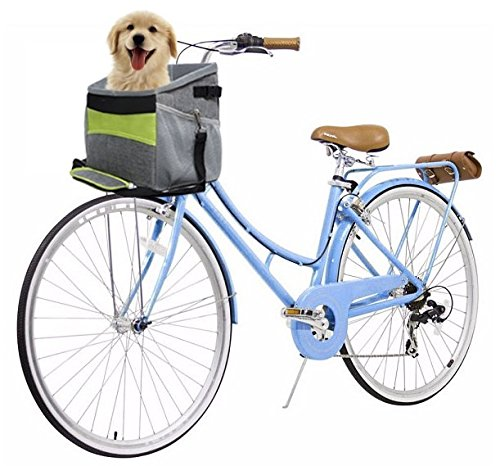 N&M Products Dog Bike Basket/Pet Carrier/Soft Bag with Pockets and Strap