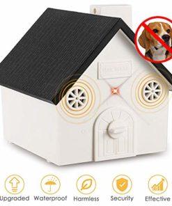 Humutan Anti Barking Device, Outdoor Anti Bark Deterrents with Adjustable Ultrasonic Level, Waterproof Ultrasonic Infrared Dog Barking Control for Small Medium Large Dogs