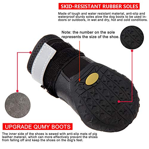 QUMY Dog Boots Shoes for Large Breed Dogs with Reflective Velcro Rugged Anti-Slip Sole 4PCS (Size 4: 2.7″x2.1″(LW) for 31-40 lbs, Black-Upgrade)