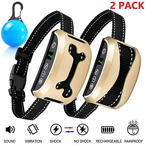 Awaiymi Bark Collar 2 Pack Upgraded 7 Sensitivity Rechargeable Dog Barking Collar Beep/Vibration/Safe Shock Or No/Anti Bark Reflective Collar for Small Medium Large Dogs