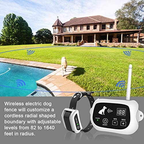 Wireless Dog Fence, Electric Wireless Dog Fence System for Dog, Pets Dog Containment System Boundary Container with IP65 Waterproof Dog Training Collar Receiver, Adjustable Range Up to 1640 Feet