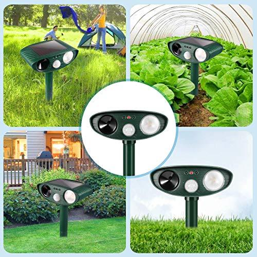 Dog Repellent Ultrasonic, Outdoor Solar Powered and Weatherproof Ultrasonic Pest Repeller with PIR Sensor