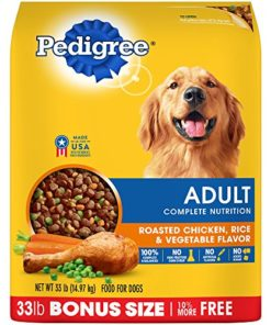 Pedigree Dry Dog Food, Adult Complete Nutrition, Roasted Chicken, Rice and Vegetable Flavor, 33 Lb Bag