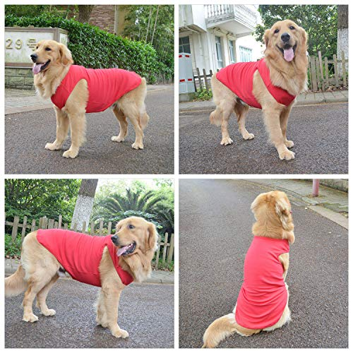 Lovelonglong 2019 Summer Pet Clothing, Dog Clothes Blank T-Shirts Ribbed Tanks Top Thread Vests for Large Medium Small Dogs 100% Cotton Red XS