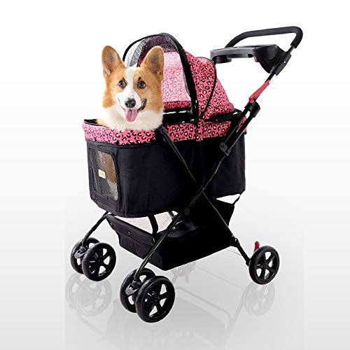 ibiyaya Affordable Multiple pet Stroller for one Medium or 2 Small Dogs or Cats with Convertible Awning and Easy fold-up Design (Pinkpard)