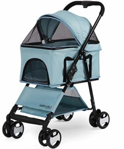 Paws & Pals Dog Stroller Easy to Walk Folding Travel Carriage for Pets & Cats with Detachable Carrier – Blue