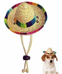 Kitatayi Dog Sombrero Hat, Mini Straw Sombrero Hats Mexican Hats Sombrero Party Hats for Small Pets/Puppy/Cat (Cotton Band)