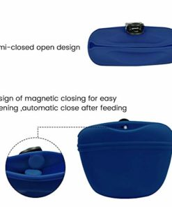 AUDWUD- Silicone Dog Treat Training Pouch – Clip on Portable Training Container – Convenient Magnetic Buckle Closing and Waist Clip – 100% FDA Certified Food Grade Silicone & BPA Free (Navy Blue)
