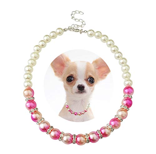 PET SHOW Pink Small Dogs Necklace Faux Pearl Rhinestone Female Cat Puppy Doggies Jewelry Grooming Accessories (S 7.9-9.8″)