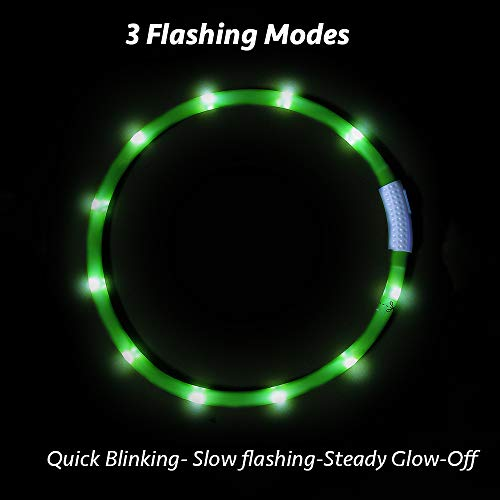 Higo LED Dog Collar, USB Rechargeable Glowing Dag Safety Collar, Silicone Lightweight Light Up Necklaces to Keep Your Dogs Be Visible& Safe in The Dark(Green)