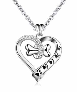 EUDORA 925 Sterling Silver Necklace Cute Dog Paws with Bone, Heart Shape Pendant 18″, Gift for Dog Owner
