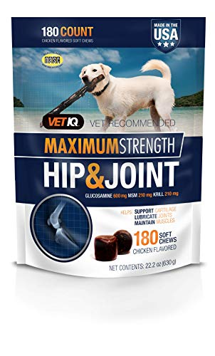 VetIQ Maximum Strength Hip And Joint Supplement For Dogs – Chicken Flavored Soft Chews, 22.2 Oz (180 count bag)
