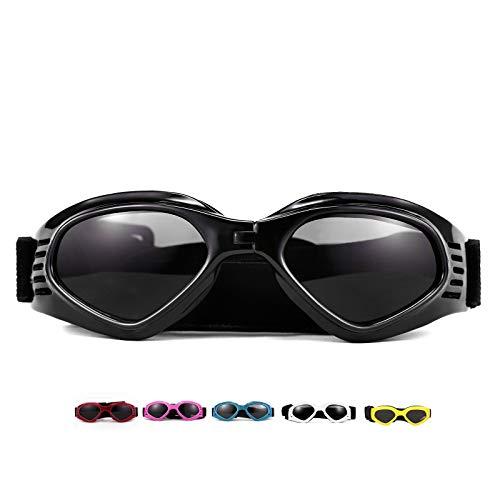 Vevins Dog Goggles Sunglasses UV Protective Foldable Pet Sunglasses Adjustable Waterproof Eyewear for Cat Dog (Black)