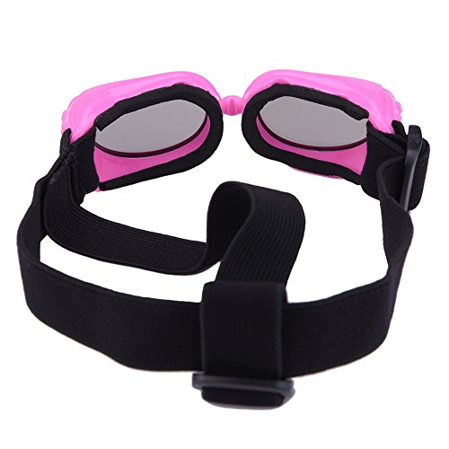 Outdoor Dog Sunglasses Anti-UV Eye Protection Goggles Waterproof Windproof Anti-Fog for Small Pet Puppy Cat (Pink)