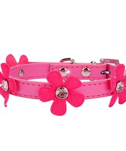 IEason Pet Collar, Dog Collar Bling Crystal with Flowers Necklace Pet Puppy Cat (XS, Hot Pink)