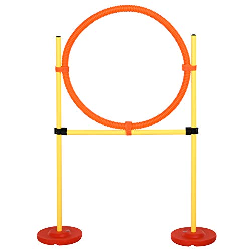 PawHut Portable Dog Obstacle Course Backyard Agility Set with Adjustable Weave Poles, Jumping Ring, High Jump