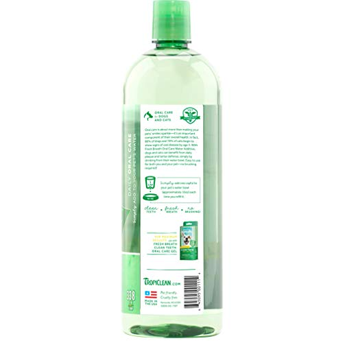 Fresh Breath by TropiClean Oral Care Water Additive for Pets, 33.8oz – Made in USA