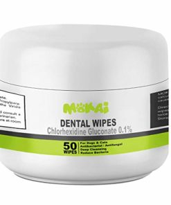 MOKAI Dental Wipes for Dogs and Cats | Pads with Chlorhexidine and Sodium Hexametaphosphate Helps Remove Plaque Tartar Buildup Calculus and Bad Breath, Preventing Tooth Decay and Gingivitis (50 Wipes)