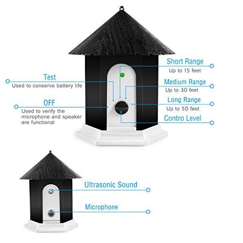 Humutan Anti Barking Device, Ultrasonic Barking Control Device, Waterproof Outdoor Anti Bark Deterrents in Birdhouse Shape