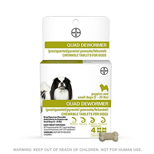 Bayer Animal Health Bayer 22.7mg Puppies and Small Dog 2-25 lb 4 Count Quad Chewable Dewormer