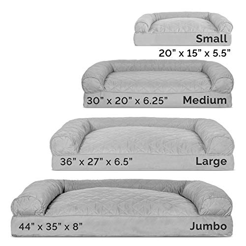 Furhaven Pet Dog Bed – Quilted Pillow Cushion Traditional Sofa-Style Living Room Couch Pet Bed w/ Removable Cover for Dogs & Cats, Silver Gray, Medium