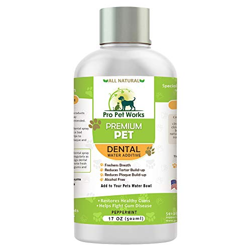 Premium Pet Dental Water Additive for Dogs Cats & Small Animals-Dog Dental Care for Bad Pet Breath-Oral Mouth Care That Fights Tartar, Plaque and Gum Disease- [17 oz] Dog Toothpaste Deodorizer