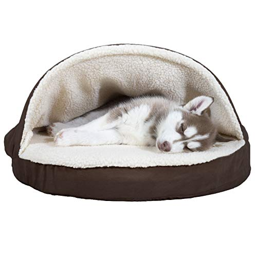 Furhaven Pet Dog Bed | Orthopedic Round Cuddle Nest Faux Sheepskin Snuggery Blanket Burrow Pet Bed w/ Removable Cover for Dogs & Cats, Espresso, 26-Inch