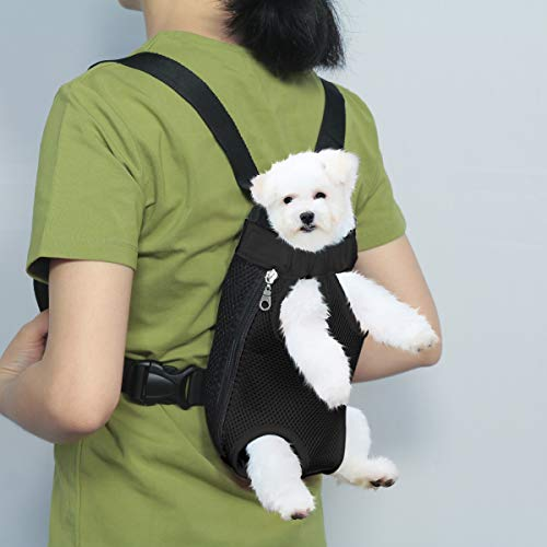 Henkelion Dog Carrier Backpack Front Pack, Pet Carrier Back Pack for Small Medium Cat Puppy Doggie, Dog Body Carrying Bag Sling Backpack, Dog Treat Holder for Chest – Black – Small