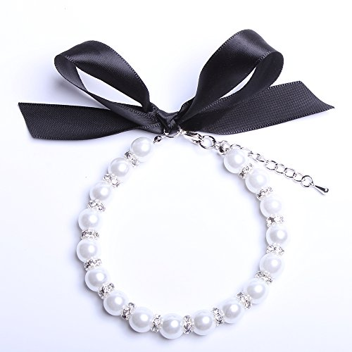 Snow White Dog Cat Pearls Necklace Collar Bling Accessories Ribbon Charm Pet Puppy Jewelry for Female Dogs Cats Small Medium (S)