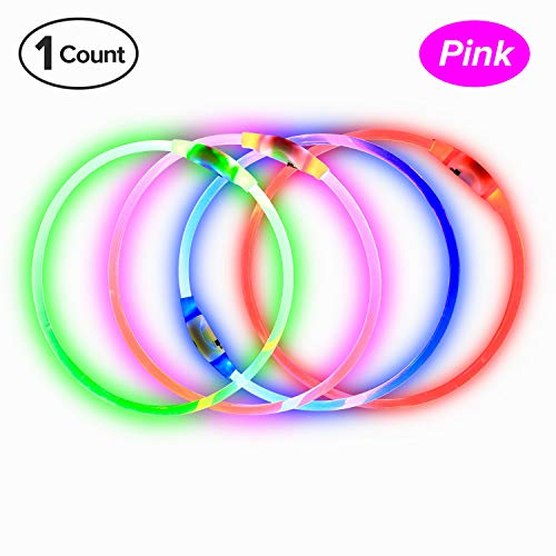 BSeen LED Dog Collar, USB Rechargeable, Glowing pet Dog Collar for Night Safety, Fashion Light up Collar for Small Medium Large Dogs (Candy Pink)