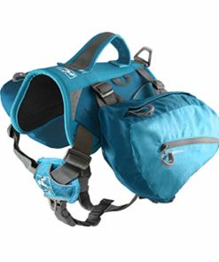 Kurgo Baxter Dog Backpack, Dog Saddlebag, Dog Pack, Adjustable Saddlebag for Hiking, Walking, Running, Camping, Coastal Blue