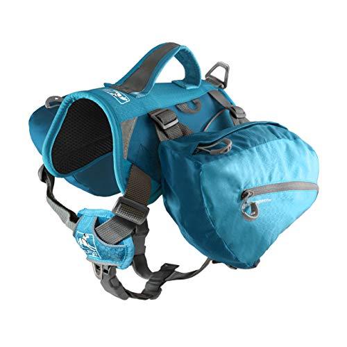 Kurgo Baxter Dog Backpack, Dog Saddlebag, Dog Pack, Adjustable Saddlebag for Hiking, Walking, Running, Camping, Coastal Blue