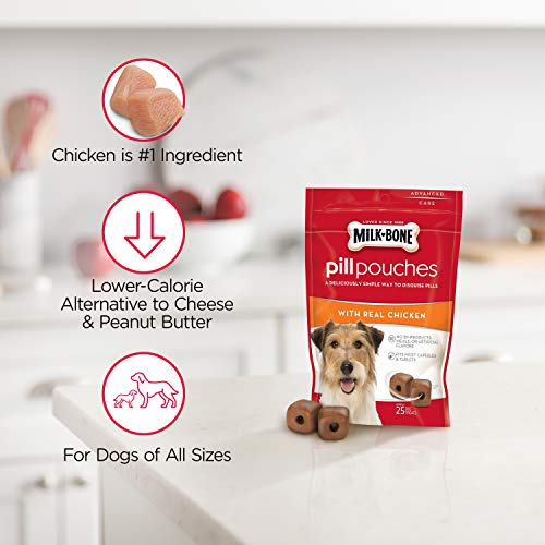 MilkBone Pill Pouches Dog Treats Real Chicken 25 Treats Pack of 5