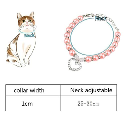 Norbi Pet Pearls Collar Cat Dog Necklace Jewelry with Crystal Heart for Pets Cats Small Dogs Female Puppy Chihuahua Yorkies(Blue)