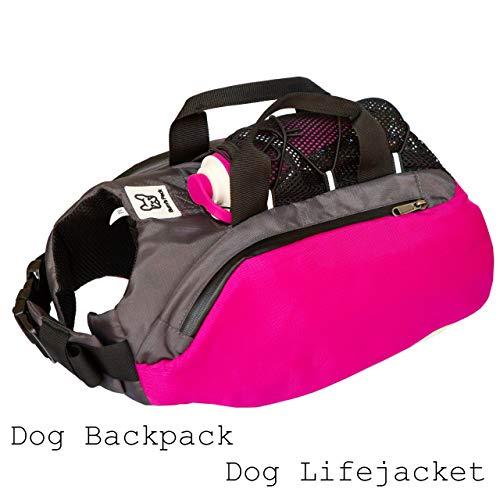 Bum's Pack Dog Backpacks, Luminous & Reflective Hiking Pack for Dogs, Water Bottle Included Camping & Travel Saddlebag for Dogs, Dog Float Coat, Dog Life Jacket, Dog Backpacks for Medium & Large Dogs