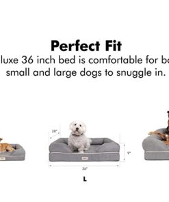 Prestige Edition Orthopedic Dog Bed Memory Foam | Bolster Dog Couch Pet Sofa Beds with 100% Suede Removable Cover 4″ Mattress Memory-Foam Chew Proof Durable | Size Large 36″ x 28″ x 9″ Pewter Grey