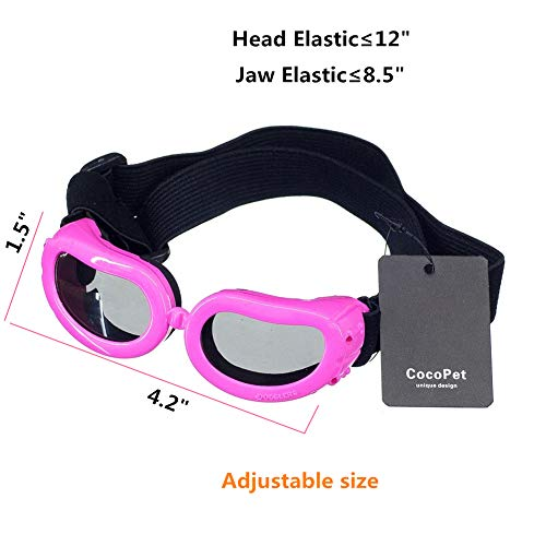 cocopet New Version Adorable Dog Goggles Pet Sunglasses Eye Wear UV Protection Waterproof Sunglasses for Puppy Dogs Small Medium XS Pink