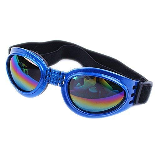 TDRTECH Dog Sunglasses Pet Glasses, Adjustable Head and Chin Straps, Eye Wear Protection for Small to Medium Dog (Blue)